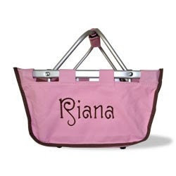 Ships in 1 to 2 DAYS Monogrammed MINI Market Tote - Light Pink with Brown Trim