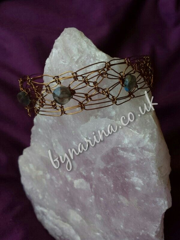Antique bronze wire macrame bracelet with faceted  labradorite stones