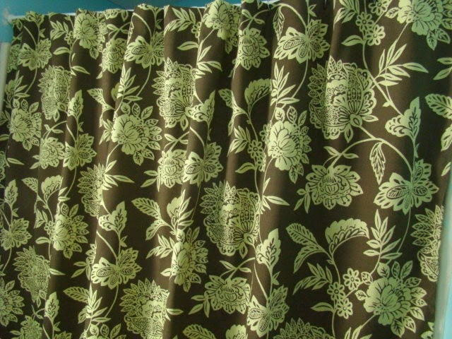 Brown and green Fabric Shower Curtain by mustlovehomedecor