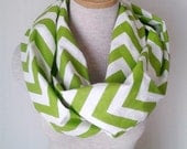Chartreuse and White Chevron Infinity Skinny Scarf - MegansMenagerie