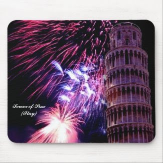 Fireworks LightingTower of Pisa Mousepad mousepad