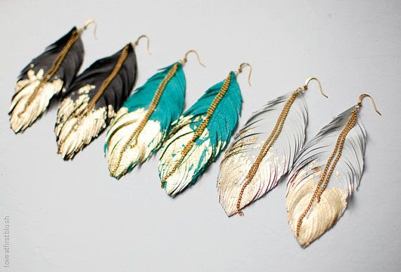 Feather Earrings  Leather Feather Jewelry  by LoveAtFirstBlush, $34.00