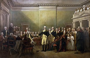 Depiction by John Trumbull of Washington resig...