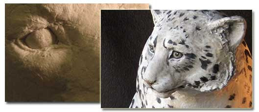 Paper Mache Clay on Snow Leopard Sculpture