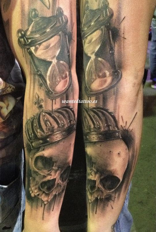 Calavera Corona Reloj Arena Tattoo Tatuajes Online