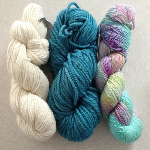 Recent stash enhancers! L to R: Berroco Ultra Alpaca Light, Malabrigo Chunky, and @astashaddict sock in Mermaid's Hair!! #yarn