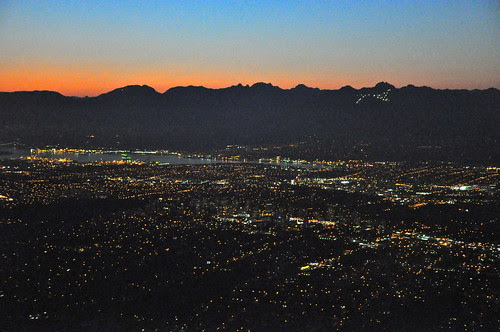LAX to YVR - Vancouver and Grouse Mountain lights
