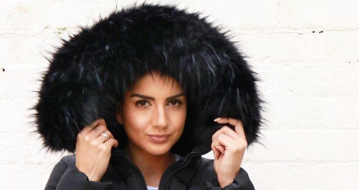 Black Jacket With Fur Hood And Belt