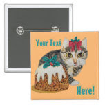 cute kitten grey tabby with pudding christmas 2 inch square button