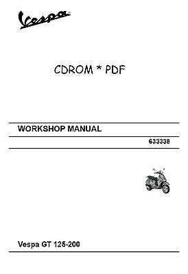 Vespa GT 125 200 Workshop Manual * Wiring Diagram * CDROM