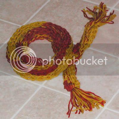red n gold finger weave scarf