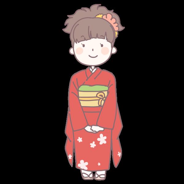 赤い着物を着た成人女性のイラスト かわいいフリー素材が無料の