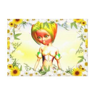 Daisyframe Girl Gallery Wrap Canvas