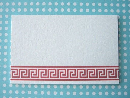 Greek Key Lettepress Mini Cards / Place Cards / Gift Tags / Enclosures