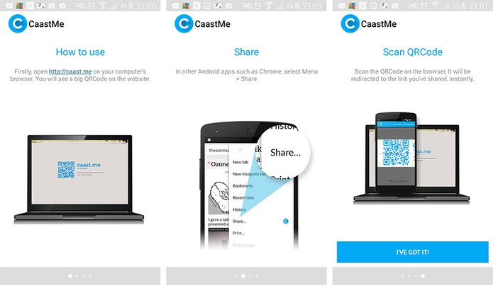Compartilhe links entre o Android e o computador com o CaastMe (Foto: Reprodução/Barbara Mannara)
