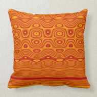 Throw Pillow, Abstract Stripes and Dots, Orange throwpillow