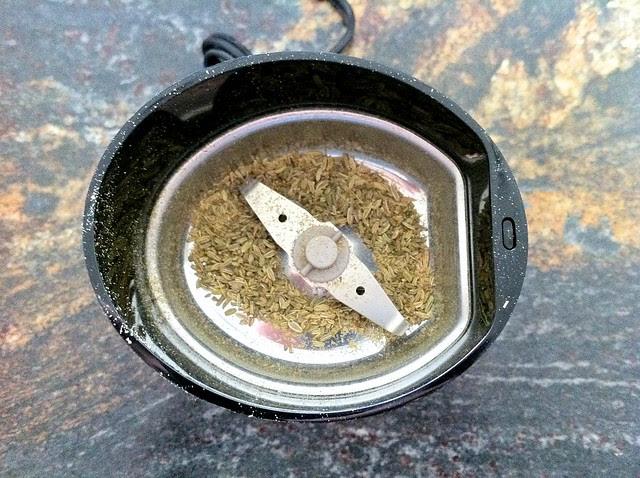 Ground Fennel Seeds in Grinder