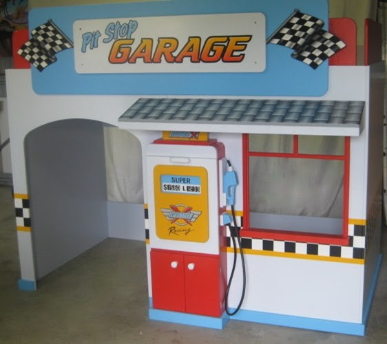 Boys Pit Stop Garage Playhouse Loft Bed - By KidSpace Playrooms ...