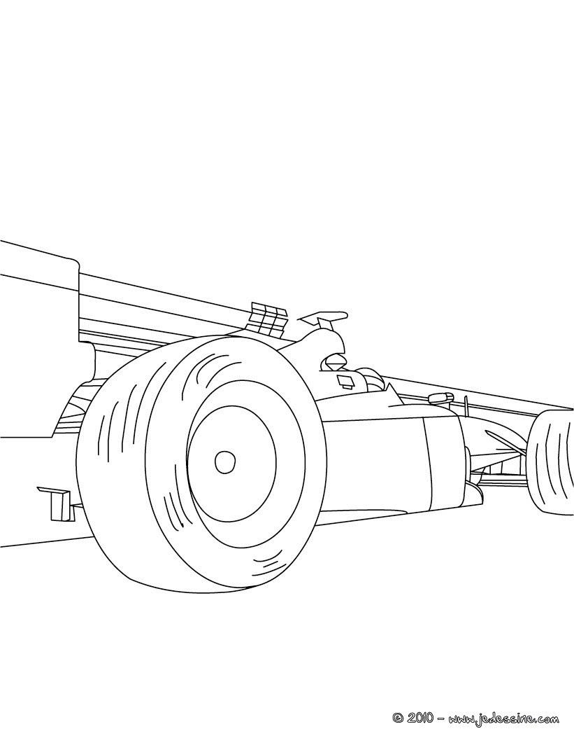 Coloriage profil voiture de course