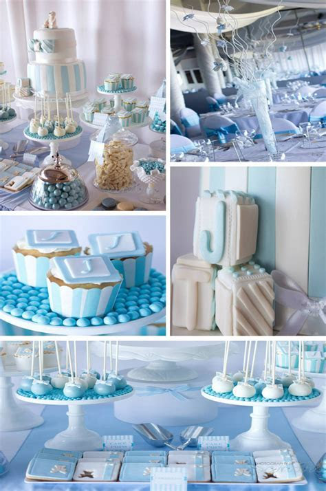 Kara's Party Ideas Blue Christening First Birthday Party