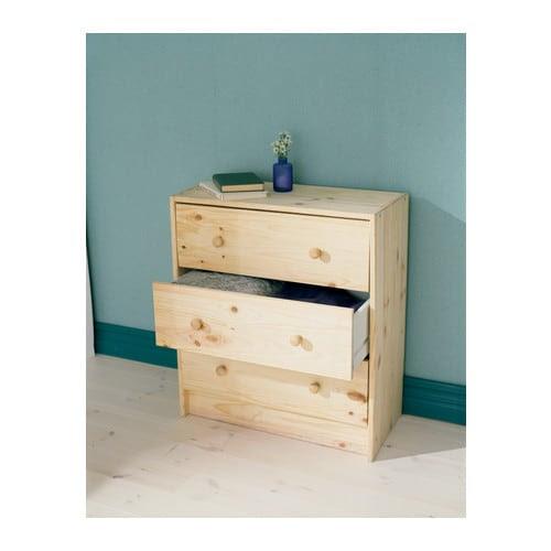 RAST Komoda, 3 szuflady IKEA Produkt wykonany z litego drewna - wytrzymałego, ciepłego, naturalnego materiału.