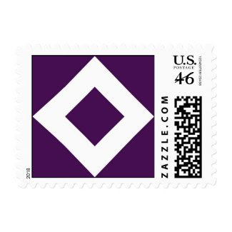 Purple and White Diamond Pattern Postage