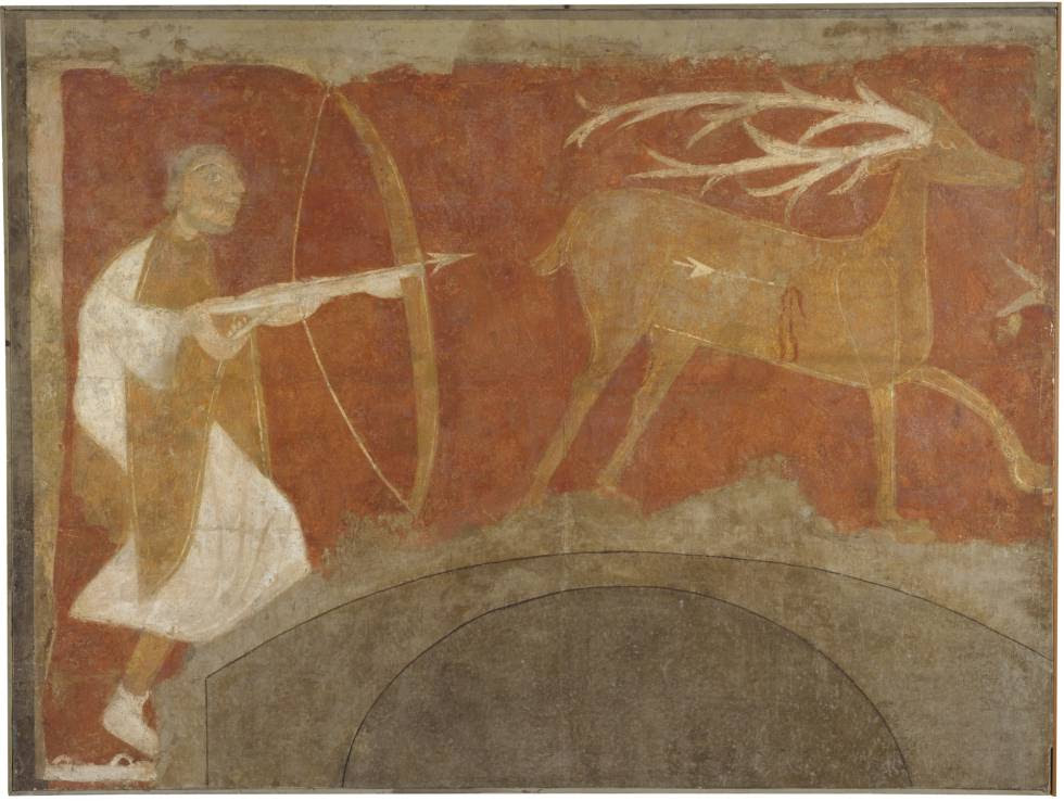 Uno de los seis frescos procedentes de la ermita mozárabe de San Baudelio de Berlanga (Soria) que se exponen en el Museo del Prado (Madrid).