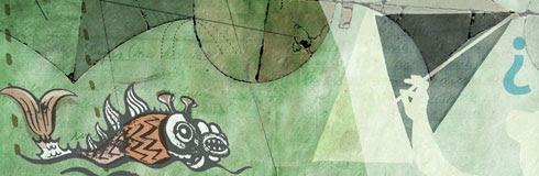 Dibujo de pez y silueta de cometa sobre fondo abstracto