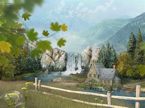 mountain waterfall  screensaver  animated