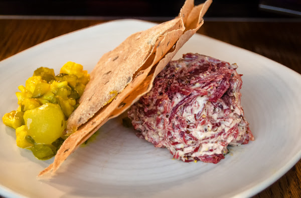 Potted beef with grainy mustard, homemade piccalilli and buckwheat crackers @ Bread Street Kitchen - London