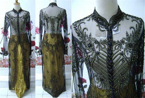 baju pengantin kebaya sulam kebaya indah hitam gold labuh