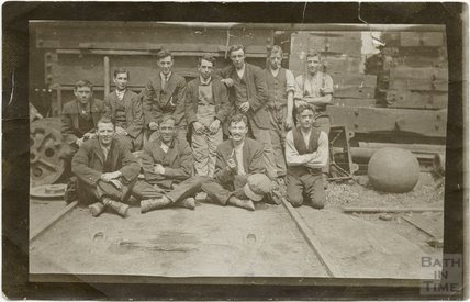 Moulding workers and Stothert and Pitt's brass foundry in Bath c1910