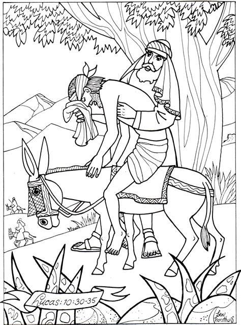 kleurplaat barmhartige samaritaan bijbels opvoedennl