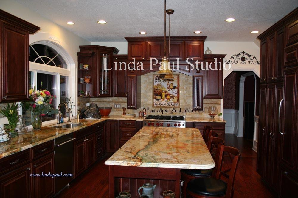 Tile Backsplash Ideas For Cherry Wood Cabinets Home Design Ideas