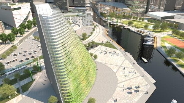 El edificio con una huerta vertical que está construyendo Plantagon en Suecia
