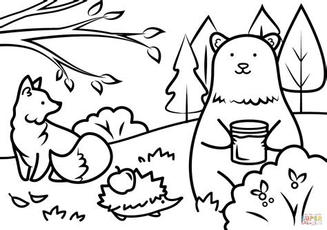 autumn animals coloring page  printable coloring pages