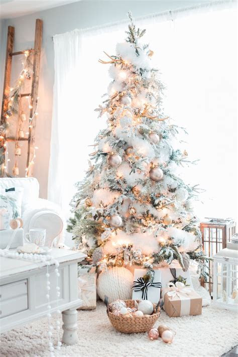 gold white christmas tree christmas home   Christmas