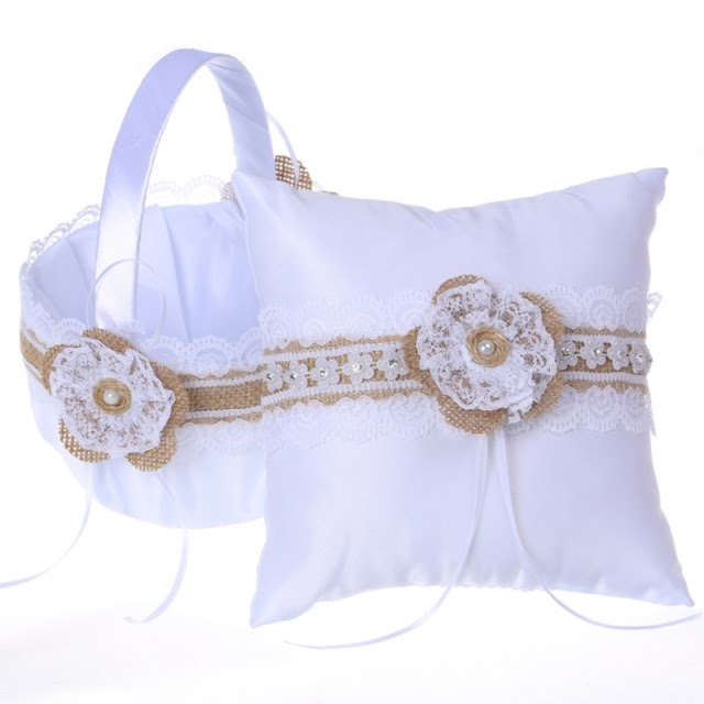 Cheap Flower Girl Basket Ring Bearer Pillow Set Wedding For Anniversary Celebrations Party Decoration RECOMMENDED H2 RECOMMENDED TODAY