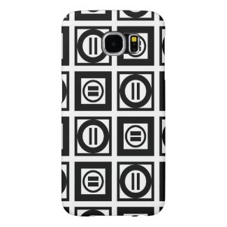 Black and White Geometric Equal Sign Pattern Samsung Galaxy S6 Cases