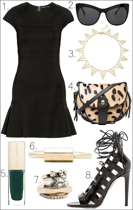 LE FASHION OUTFIT COLLAGE LITTLE BLACK DRESS Black Maje Darling Paneled Stretch Jersey Dress Full Skirt Elizabeth and James Lafayette Cat Eye Sunglasses Elizabeth and James Berlin Pyramid Statement Necklace Jerome Dreyfuss LeopardPrint Momo Mini Messenger Bag Dolce Gabbana Nail Lacquer in Wild Green Nail Polish Miansai Naomi Gold Minimal Cuff Iosselliani Set of 4 Rings Studded Jelweld Stacked Stackable Rings Black Aquazzura Amazon Lace Up Sandals Heel Pumps photo LEFASHIONOUTFITCOLLAGELITTLEBLACKDRESS.jpg
