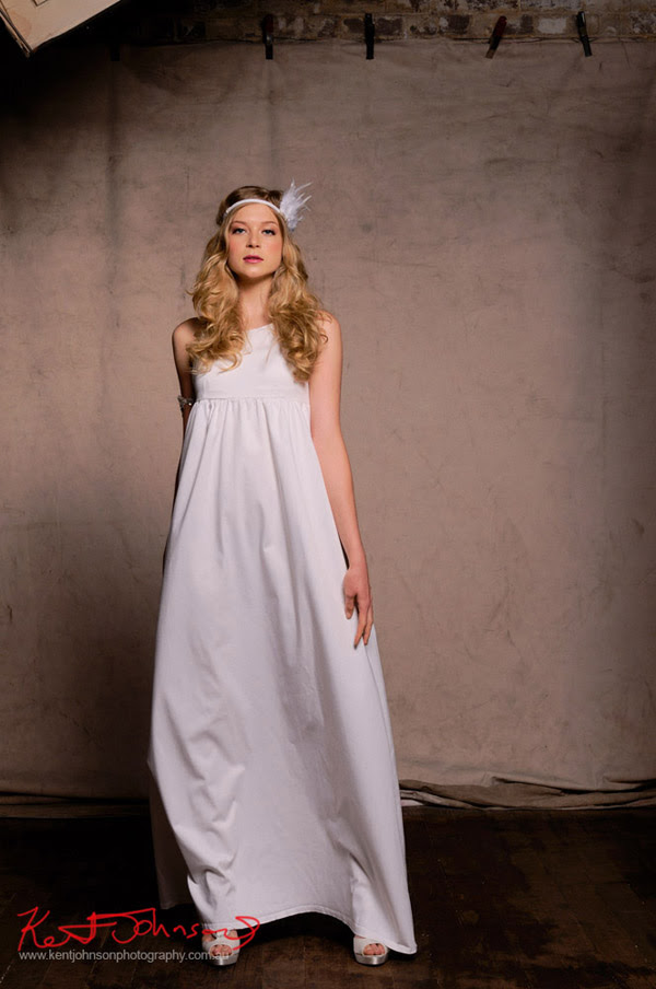 White long shift day dress by Melissa Carmichael