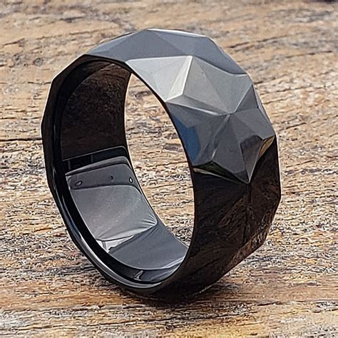 Pavo Mens Faceted Rings   Jet Black   Forever Metals