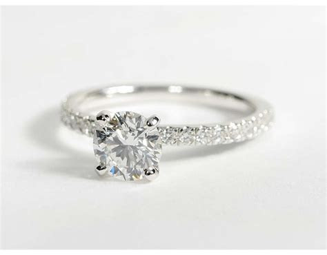 0.9 Carat Diamond Petite Pavé Diamond Engagement Ring