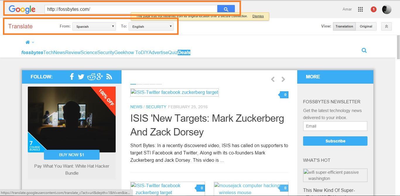 Google translate service as a proxy server