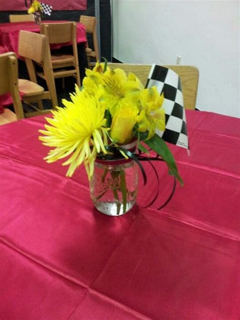 Car theme flower centerpiece   Racing inspired event