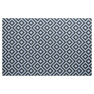 Bold Light Blue and Black Meander Fabric
