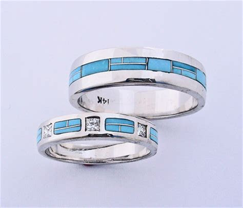 Turquoise wedding bands