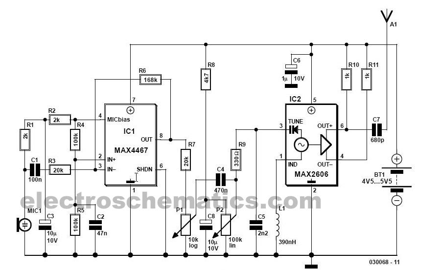 wireless mic amplifier circuit digram