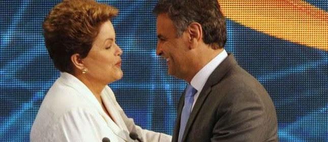 Dilma e Aécio no debate da Band, no dia 14 (Foto: Paulo Whitaker / Reuters)
