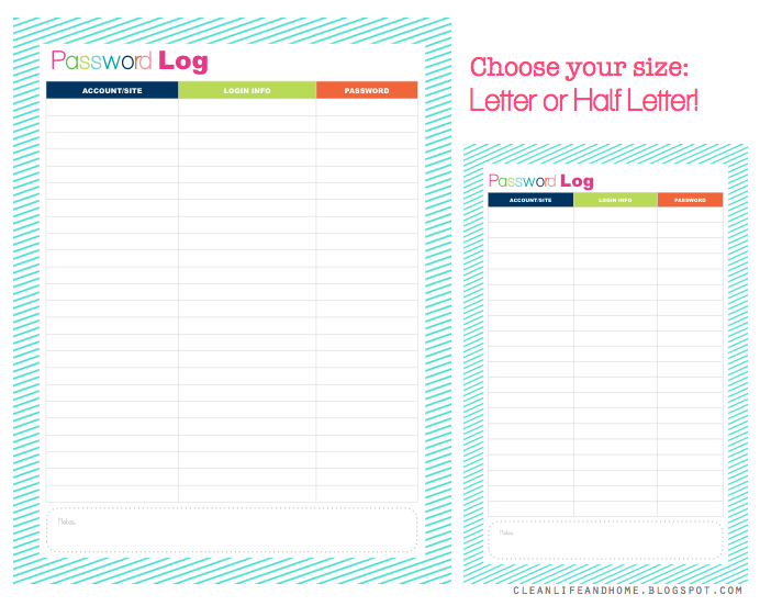 1000+ images about Password tracker printables... on Pinterest ...